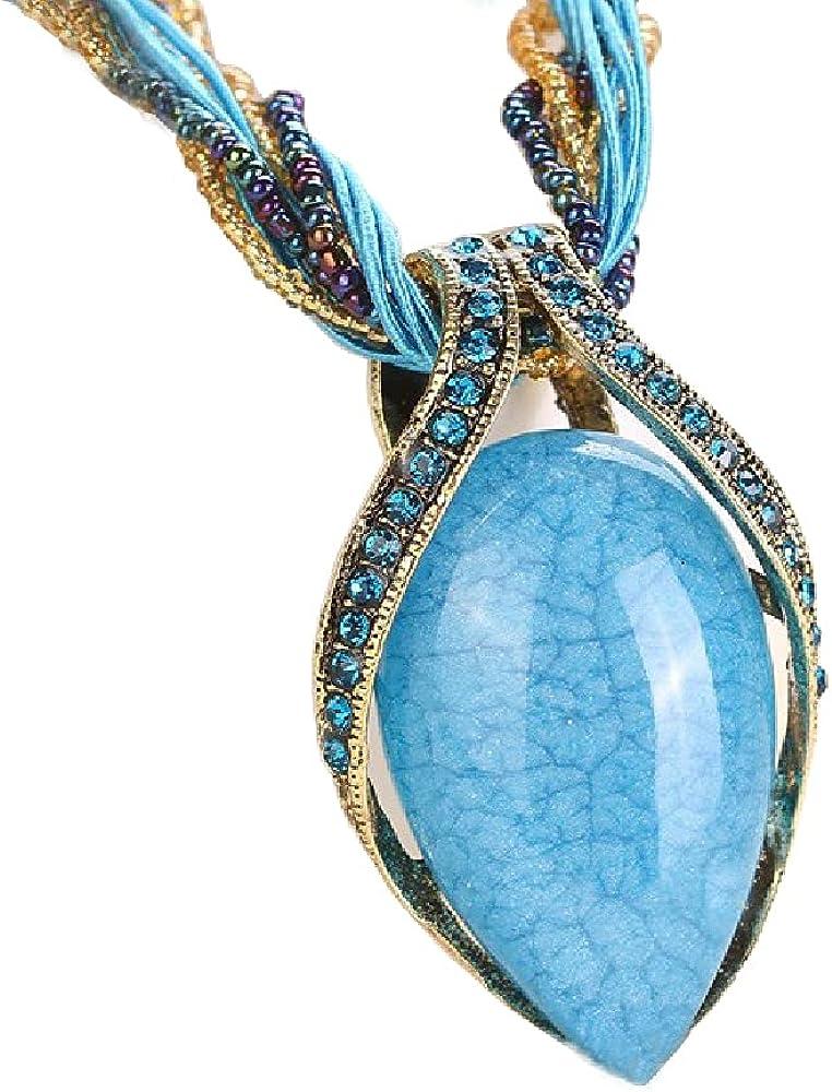 Womens Bohemian Statement Turquoise Pendant Necklace Vintage Beaded Rhinestone Gem Chain Necklace Boho Retro Stone Chunky Collar Jewelry