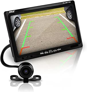 Pyle Backup Rear View Car Camera Screen Monitor System - Parking & Reverse Safety Distance Scale Lines, Waterproof, Night Vision, 170° View Angle, 7 LCD Video Color Display for Vehicles - (PLCM7700)