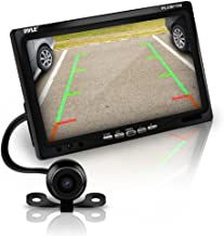 Pyle Backup Rear View Car Camera Screen Monitor System - Parking & Reverse Safety Distance Scale Lines, Waterproof, Night Vision, 170° View Angle, 7