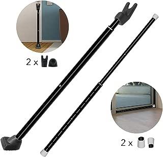 Securityman 2-in-1 Door Security Bar & Sliding Patio Door Security Bar (2 Pack) via Interchangeable Caps - Constructed of High Grade Iron - Black
