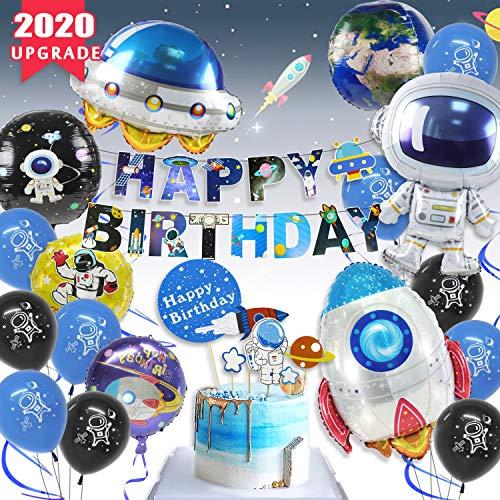 PushingBest Geburtstagsdeko, Weltraum Geburtstag Party Dekoration Astronauten Raumschiff Raketen Folienballon, Happy Birthday UFO Banner Weltraum Kuchen Topper mit 4D Erde Astronauten Ballons