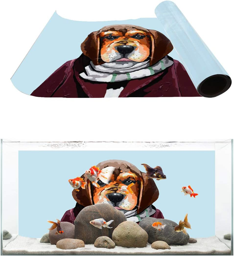 Popular Some reservation TH XHome Aquarium Décor Backgrounds Dog Fish Gentleman Pattern