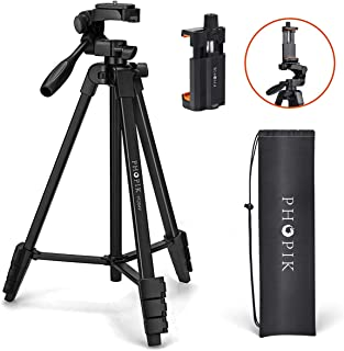 "PHOPIK Lightweight Phone Tripod 55-Inch, Video Tripod with 360 Panorama and 1/4"" Mounting Screw for Mirrorless/Gopro/DSLR ..."