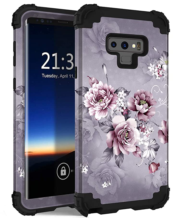 Galaxy Note 9 Case, Hocase Shockproof Heavy Duty Protection Hard Plastic Cover+Silicone Rubber Dual Layer Protective Phone Case for Samsung Galaxy Note 9 (2018) SM-N960 - Light Purple Flowers