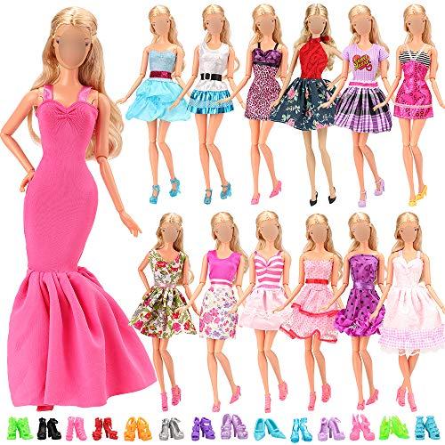 Miunana Lot 15 Kleidung = 5 Kleider + 10 Schuhe für 11,5 Zoll Mädchen Puppen Kindertag Geschenk