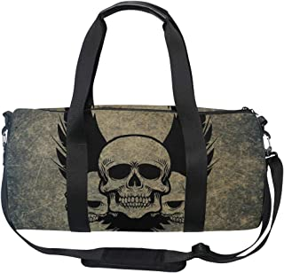 MUOOUM Awesome Skull Crossbones Wings Sports Gym Bag Travel Duffel Bag for Women and Men Luggage Handbag …