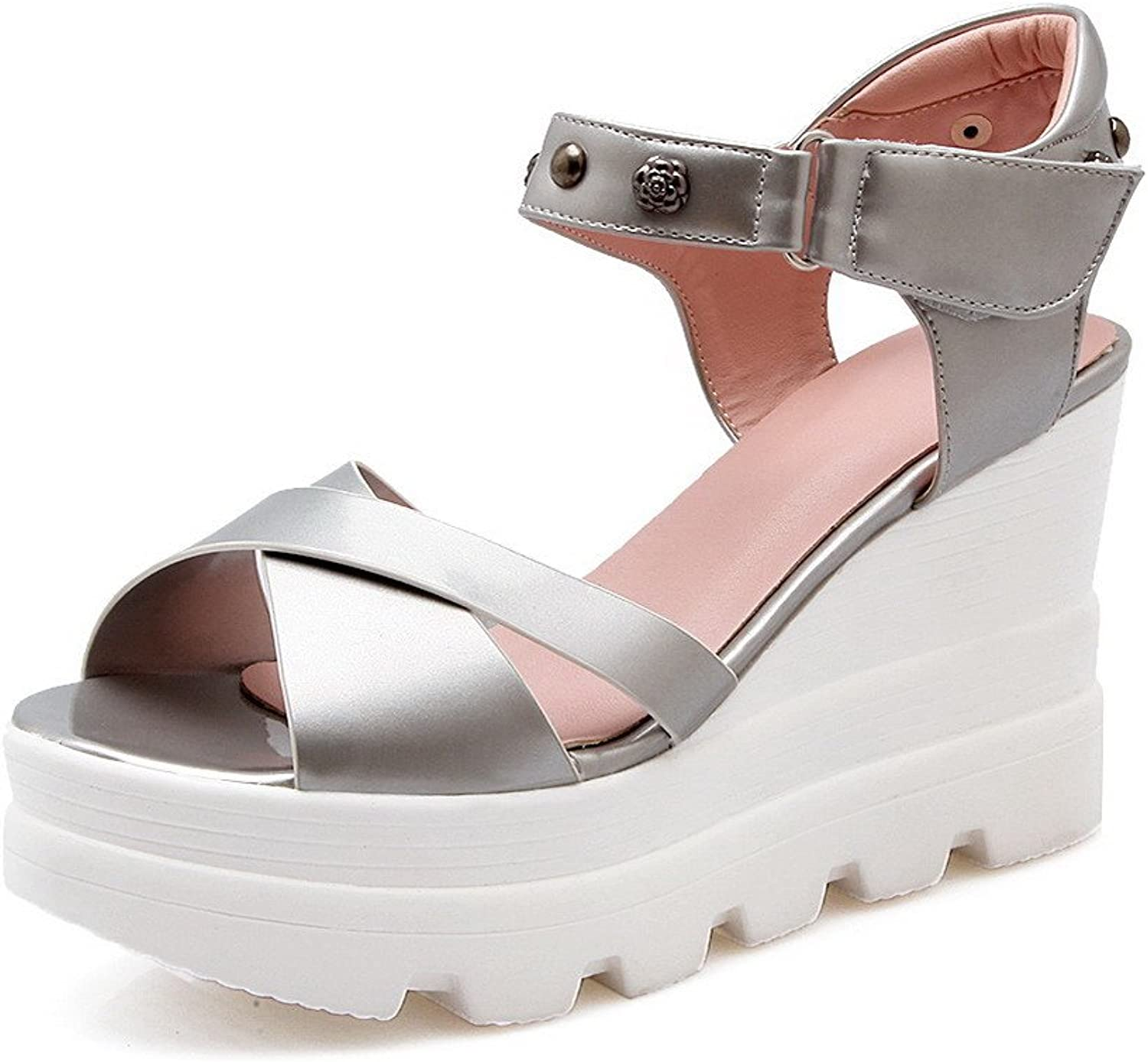 WeenFashion Women's Hook and Loop Open Toe High Heels Patent Leather Solid Sandals