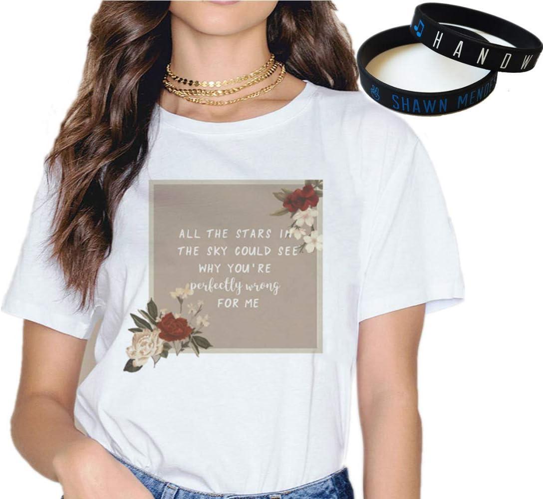 Shawn Mendes Camiseta Pulsera Regalo Concierto Tee Música Moda Pulsera Impresión Dibujos Animados In My Blood Al Aire Libre/F/M