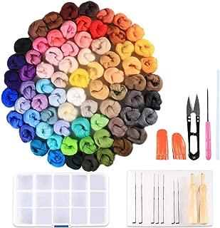 Habbi Wool Roving Kit - 72 Colors Needle Felting Wool Roving Yarn Set with Wool Felt Tools Felting Supplies for Starter