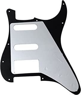Kmise MI0243 Left-Handed Guitar Pickguard for Strat Scratch Plate SSH Black 3-Ply