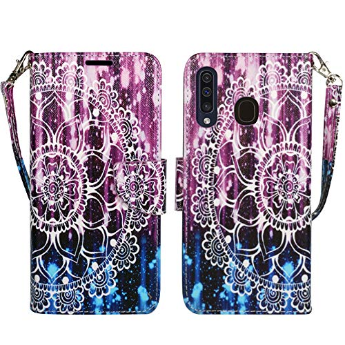Galaxy A50 A30 A20 Wallet Case, ZASE Compatible for Samsung Galaxy A50 Verizon/Sprint 6.4 inch Protective Flip Pouch Premium PU Leather Cover w/Kickstand ID Card Pocket Strap (Purple Mandala Flower)