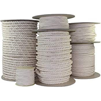"""SGT KNOTS Twisted 100% Cotton Rope - High Strength, Natural Biodegradable, Chemical Free Rope for Commercial, Indoor/Outdoor (1/4"""" x 10ft)"""
