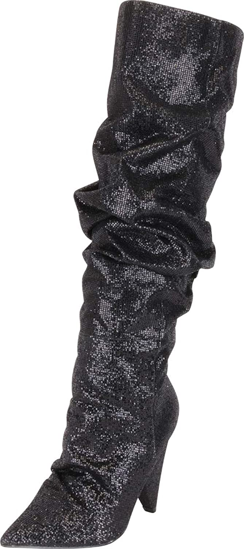 Cambridge Select Women's Slouch Glitter Crystal Rhinestone Cone Heel Knee-High Boot
