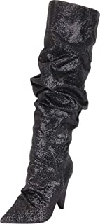 Women's Pointed Toe Slouch Glitter Crystal Rhinestone Cone Heel Knee-High Boot