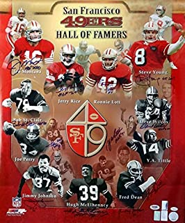 SAN FRANCISCO 49ERS HALL OF FAMERS AUTOGRAPHED 20X24 PHOTO