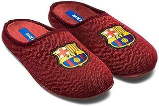 Zapatillas FC Barcelona Rojo Espiga Zapatillas de Estar por casa Hombre Invierno Otoño