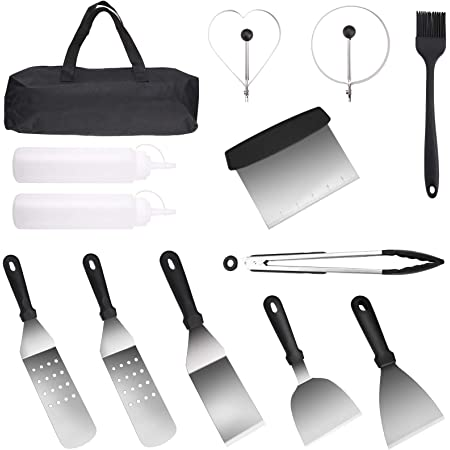 with Handle in Carry Case Yuning bbq spatula set Great for Flat Top Grill Cooking Camping Teppanyaki 13Pcs Professional Heavy Duty Stainless Steel Griddle Spatula /& Scraper BBQ Tool Set