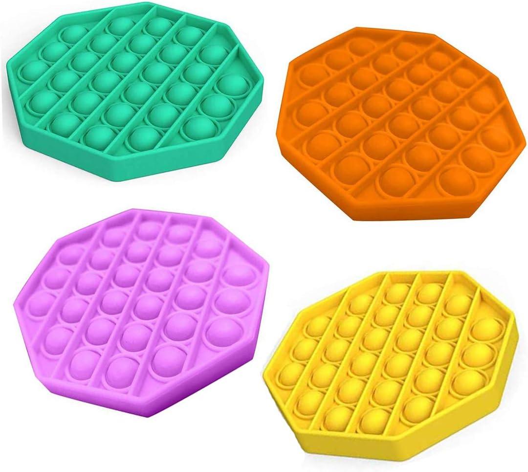 MIRACLE BLACK 4 Pcs Push Pop Bubble Sensory Fidget Toy Octagon Pop It Fidget Toy Autism Special Needs Stress Reliever Silicone Bubble Pop Toy