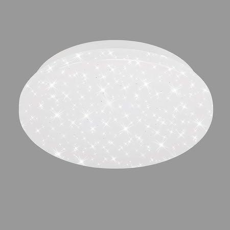 Briloner Leuchten 3388-016 LED, plafonnier avec décor étoilé, 8 Watts, 900 lumens, 4 000 kelvins, Blanc, Rond, Ø 22 cm, 8 W, weiß