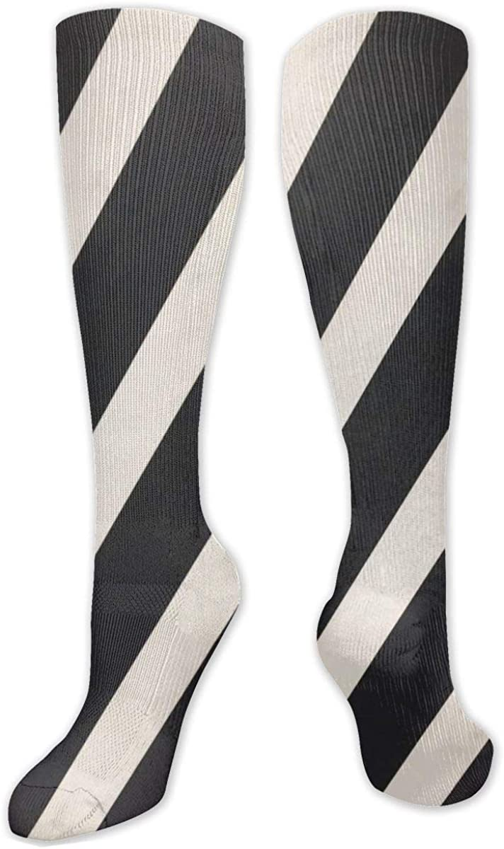 Black And White Striped Pattern Knee High Socks Leg Warmer Dresses Long Boot Stockings For Womens Cosplay Daily Wear