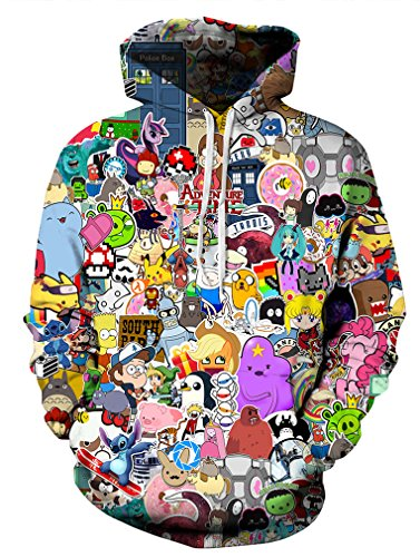 Leslady Unisex Herren Slim Fit 3D Druck Kapuzenpullover Kapuzen Sweatshirt Winter Hoodie Pullover(Large/X-Large, 5-Cartoon)
