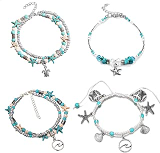 Blue Starfish Turtle Anklet Multilayer Charm Beads Sea Handmade Boho Anklet Foot Jewelry for Women Girl