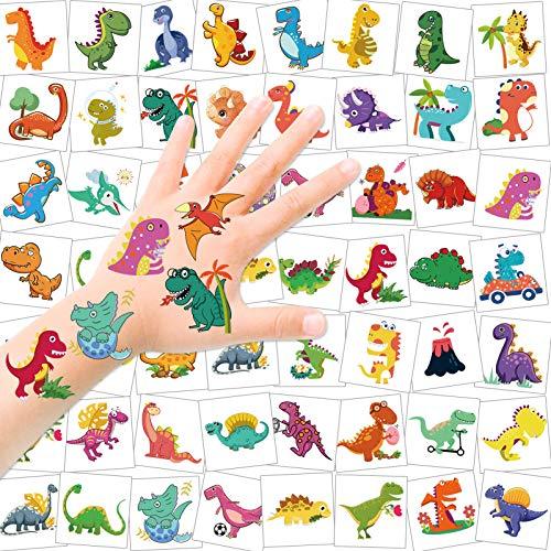 HOWAF Dinosaurio Tatuajes Temporales niños, 96 Piezas Falso Dinosaurio Tatuaje Pegatina Niños, calcamonias para niños Tatuajes, Fiestas Infantiles Dinosaurio cumpleaños de niños Regalo piñata