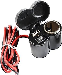 Idealeben オートバイUSBチャージャー バイクUSBポート シガーソケット シガーライターとUSBポート2in1仕様USB電源スマホ・ナビ同時充電 防水仕様 節電可能 12Vシガーソケット キャップ付 スイッチ付