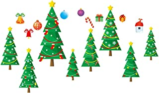 Window Decal Stickers Clings Clearance 2019 Merry Christmas Tree Shop Room Window Stickers Mural Decors Decal Removable Vinyl Art Mural Peel and Stick Decals (Multicolor)