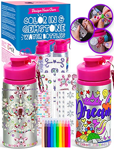 Purple Ladybug Water Bottles Craft Kit Set for Girls - 1 Decorate Your Own Glitter Gem Water Bottle with Rhinestone Stickers +1 Color Your Own Kids Water Bottle with Bright Markers - Gifts for Girl