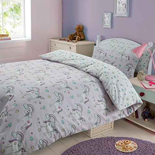 Dreamscene Magical Unicorn Duvet Cover with Pillow Case Kids Bedding Set Fairies Rainbows - Double