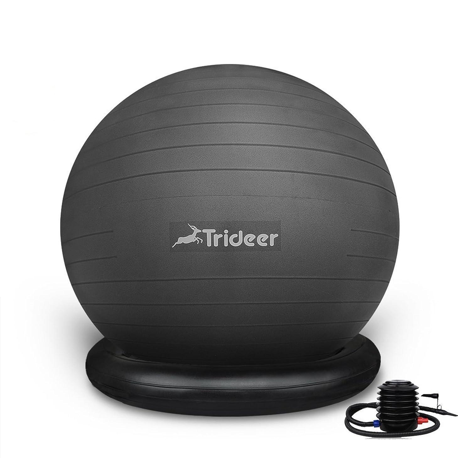 建てる後絶望Trideer 25/55/65cm バランスボール(固定リング/リング+チューブ付き、ポンプ付き) 500KGピラティスボールエクササイズボール 6色 厚い アンチバースト ストレス解消 筋トレストレッチ 椅子
