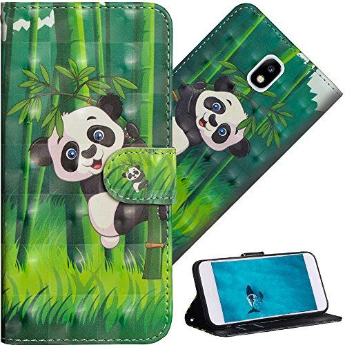 COTDINFOR Pour Samsung Galaxy J7 2017 (EU Edition) Custodia Cover TPU 3D Effect Painted PU in Pelle con Wallet Card Holder Flip Custodia per Samsung Galaxy J7 Pro 2017 / J730 Climbing Bamboo Panda YX.