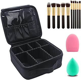 Makeup Case Cosmetic Bag Travel Makeup Train Case Black with 10 Pcs Premium Makeup Brushes Set Kit Gold, Blender Sponge and Brush Egg (Black 13 Pcs)