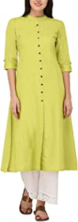 Women's Pure Cotton Plain Tunic Top Front Slit 3/4 Sleeves Roll-UP Chinese Neck Buttons Down Pocket Long Kurti Kurta