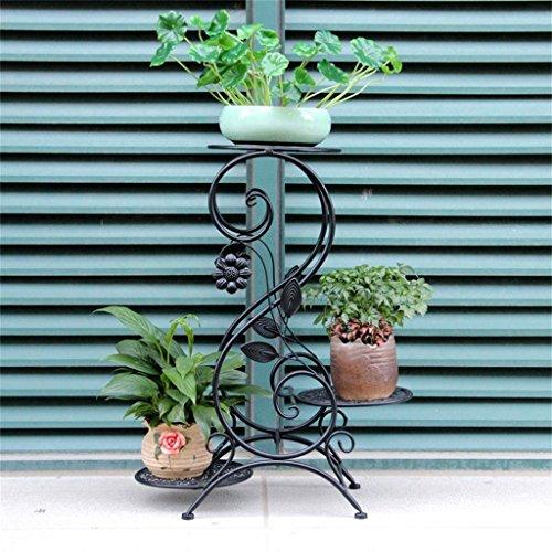 Balcon intérieur fleurs étagères Plateau de fleur de fer de style européen / plancher d'intérieur et extérieur Plateau multicolore de pot de bonsaï / fleur Multi-étages Flower Rack ( Couleur : Noir , taille : 64cm )