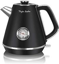 Taylor Swoden Aladin - Wasserkocher Edelstahl 1,7l, Retro elektrischer Wasserkocher mit Kalkfilter 2200w, Wasserstandsanzeige beleuchtet, Temperaturanzeigekessel, Abschaltautomatik