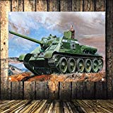 WW2 GER Wehrmacht Tank Destroyers vs Russian Tank Military Posters Flag Banner Tapestry Mural Wall Art Vintage Decor Upholstery 144X96CM (38X57 inches) C3