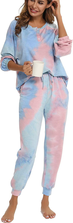 MiiKARE Brumoco Womens Tie Dye 2 Piece Pajamas Set Long Sleeve Sweatshirt and Long Pants with Pockets (Plus Size) S-3XL