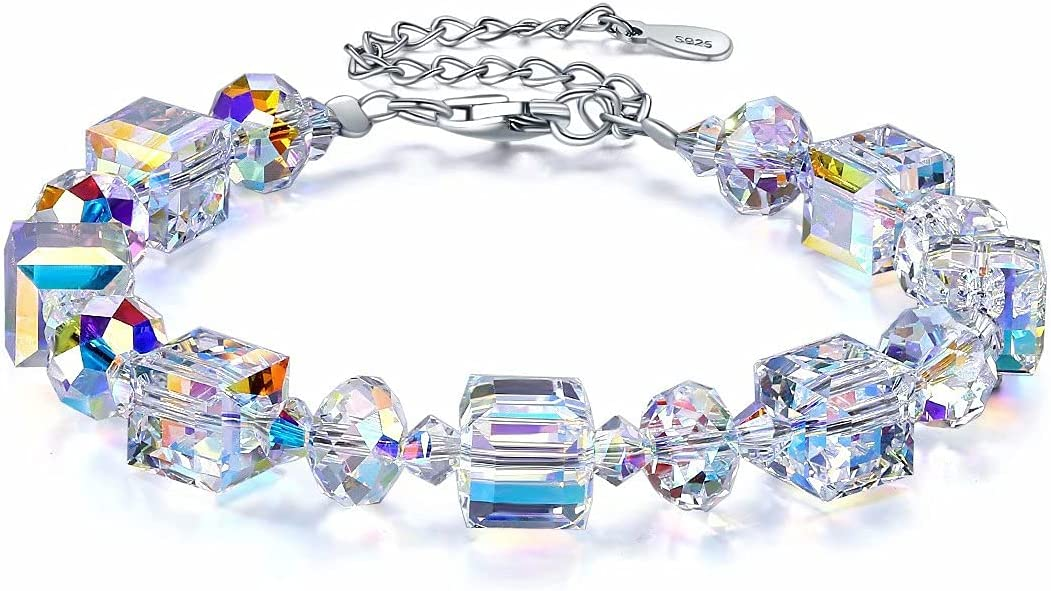 YUEXING Elemental Crystal Bracelets for Women 925 Sterling Silve