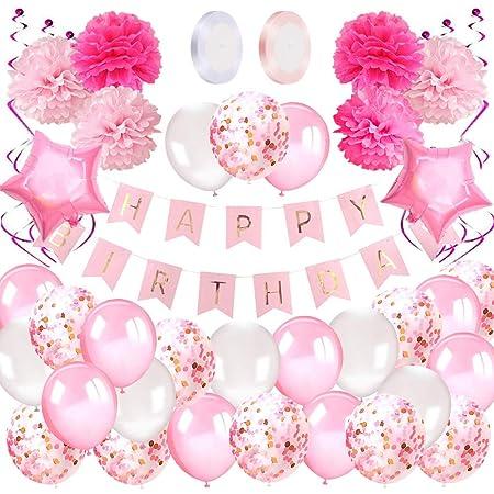 Korins Kit Decoración Fiesta Cumpleaños Niña - Pancarta Happy Birthday, Pompones de Papel, Globos, Globos Confeti, Serpentinas - Conjunto Rosa y Blanco para Celebración de Niña