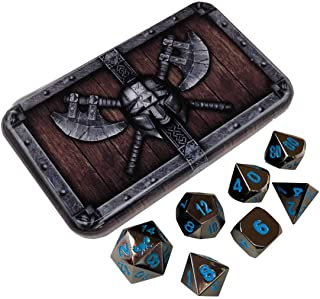 Doom Metal Shiny Black Nickel with Blue Numbers, Solid Metal Polyhedral Role Playing Game (RPG) Dice Set (7 Die in Pack) with Dwarven Chest Dice Case by SkullSplitter Dice