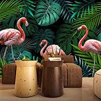 カスタム壁画3D壁紙ヨーロッパの熱帯雨林フラミンゴ牧歌的なリビングルームのソファの背景壁画-400x300cm