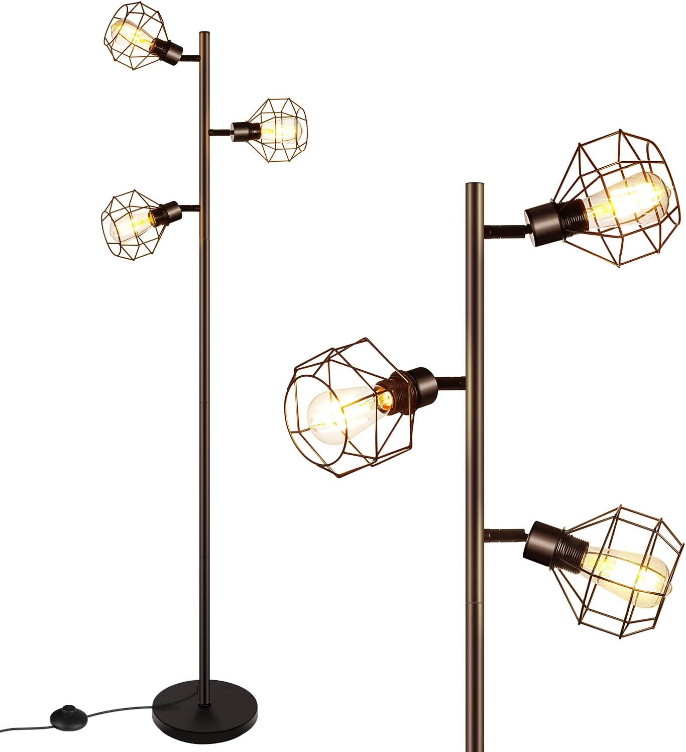 LED Industrial Floor Lamp Standing Adjustable Heads with 3 Overseas parallel Raleigh Mall import regular item