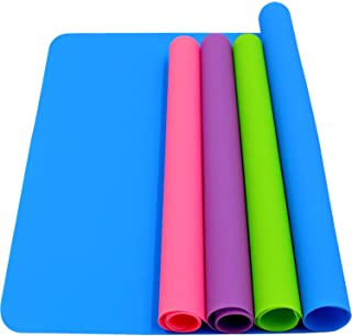 HiGift 4 Pack Silicone Mats for Crafts, Silicone Sheet for Crafts Resin Jewelry Casting Mat Pad, Waterproof Nonstick Heat-Resistant, Blue, Pink, Purple, Green (15.7`` x 11.8`` & 11.6`` x 8.3``)