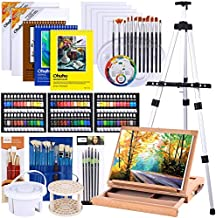 Artist Painting Set, 128Pcs Artist Set W/Table-Top & Field Easels, Art Painting Brushes, Paint Tubes, Painting Pads, Canvas Boards, Painting Knife for Oil, Watercolor, Acrylic Paints Back to School