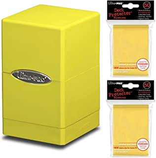 Ultra-Pro Large Yellow Satin Tower Deck Box + 100 Sleeves (fits Magic/MTG, Pokemon Cards)