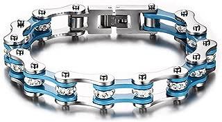 Qiaonitu Jewelry 10mm Unisex Stainless Steel Motorcycle Biker Bike Chain Link Bracelets with Crystal Rhinestones 6.88-8.46 inch
