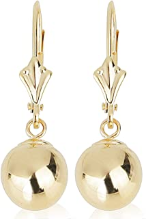 14k Yellow Gold Drop Earrings with Round Gold Ball (Lever back Ball Earrings, Balls Available in 5-8 mm)