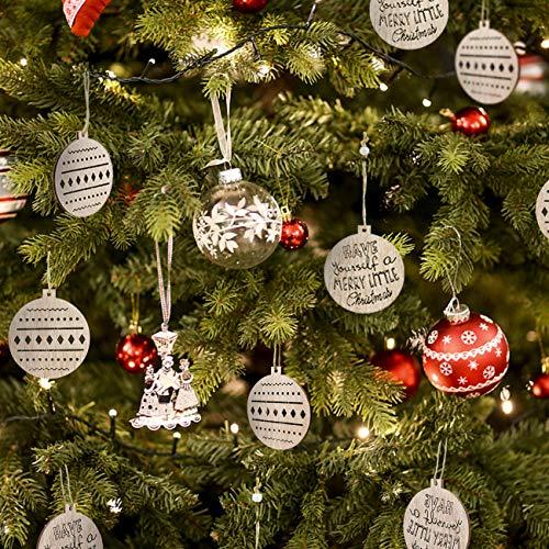 LEMESO 12 Navidad Bolas Colgantes de Madera Redondo Decoración Original para Árbol...